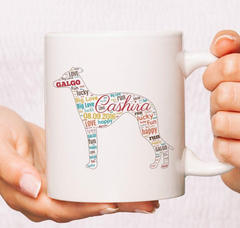 Wortwolke Tasse mit Windhund Silhouette