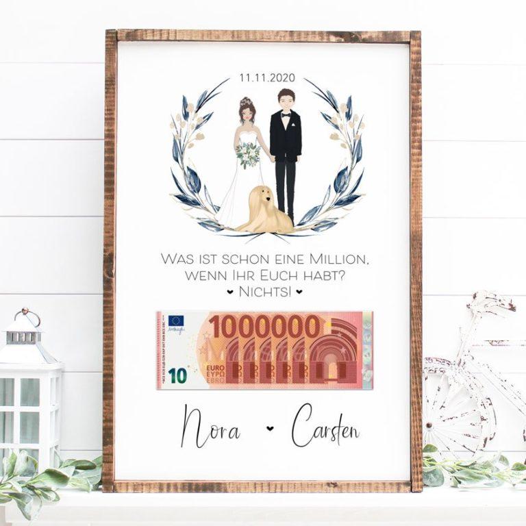 Geldgeschenk zur Hochzeit mit schönem Spruch