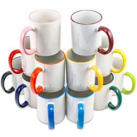 Tasse farbiger Rand + Henkel